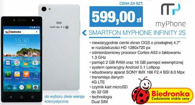 Smartfon myPhone Infinity 2s w Biedronce za 599 zł