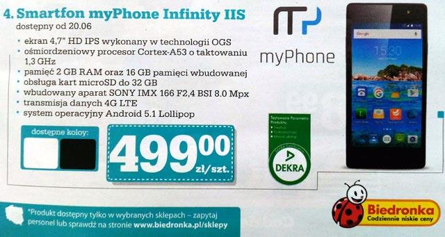 Smartfon myPhone Infinity IIS w Biedronce za 499 zł