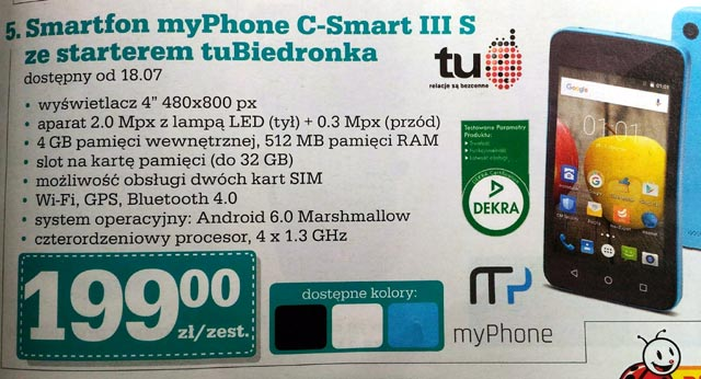 Smartfon myPhone C-Smart III S w Biedronce za 199 zł