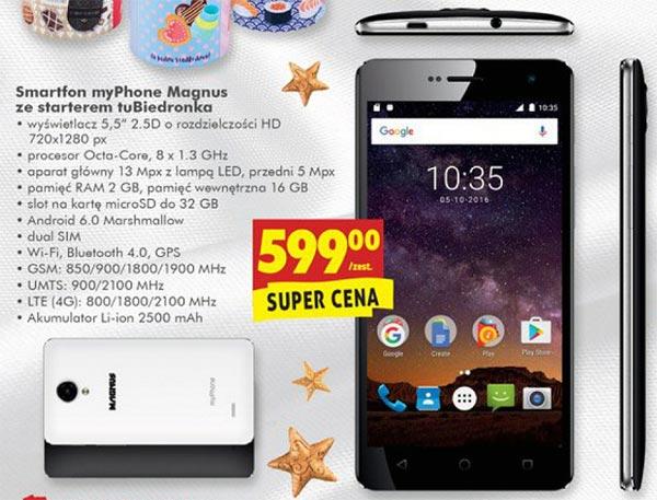 Smartfon myPhone Magnus w Biedronce za 599 zł